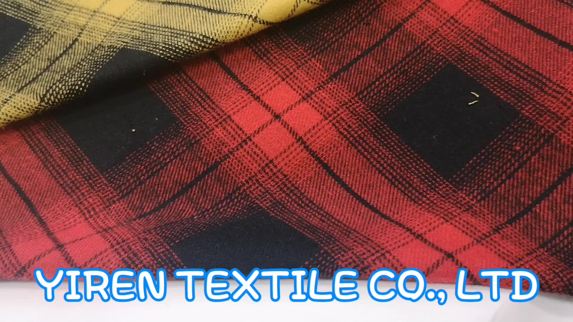 soft and comfortable high quality 100% cotton yarn dyed woven check men and women shirt fabric flannel
