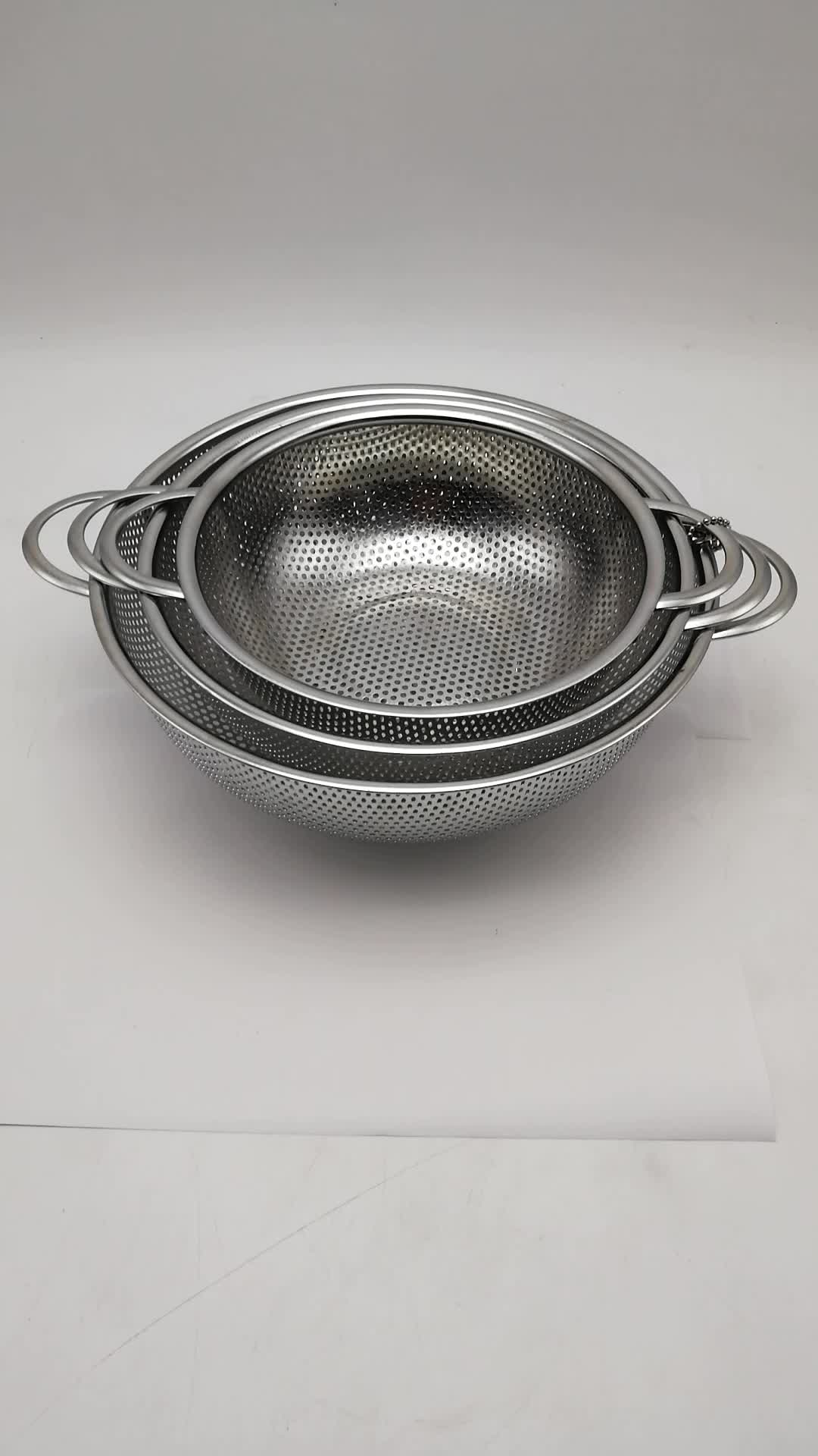 SS colander Stainless steel Rice vegetable colander basket set with Two Handles