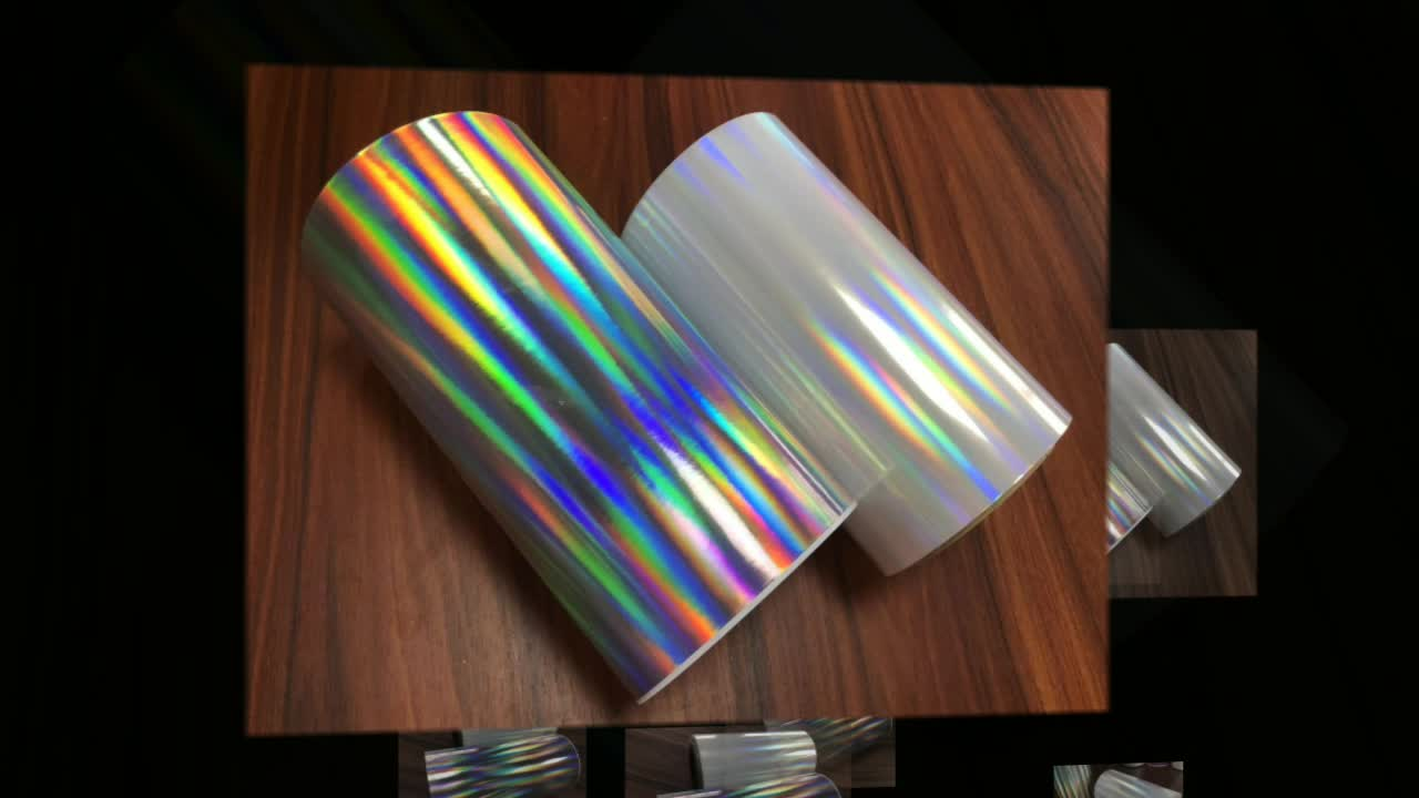 Holographic laser embossed polyester color coated patterns embossed film
