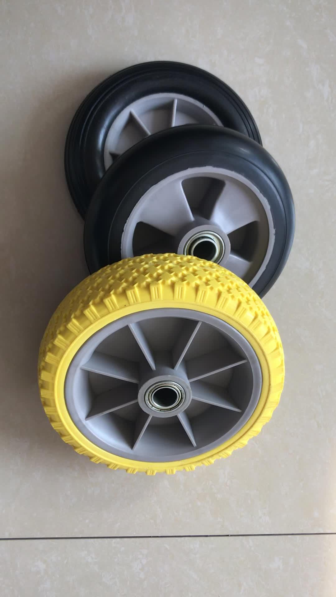 7 Inch Solid Rail Wheels Polyurethane For Hand Trolley