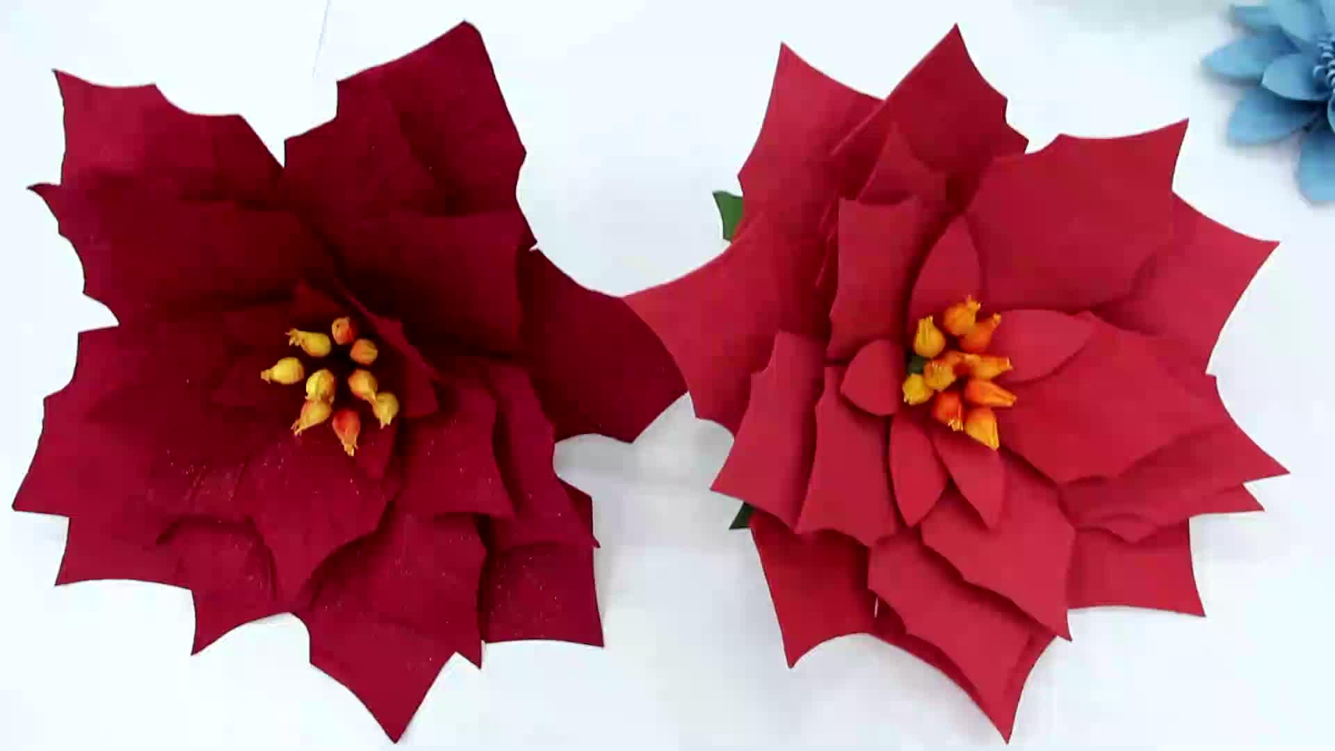 ประดิษฐ์สีแดง poinsettia กระดาษคริสต์มาสตกแต่งโฟมดอกไม้หัว WALL