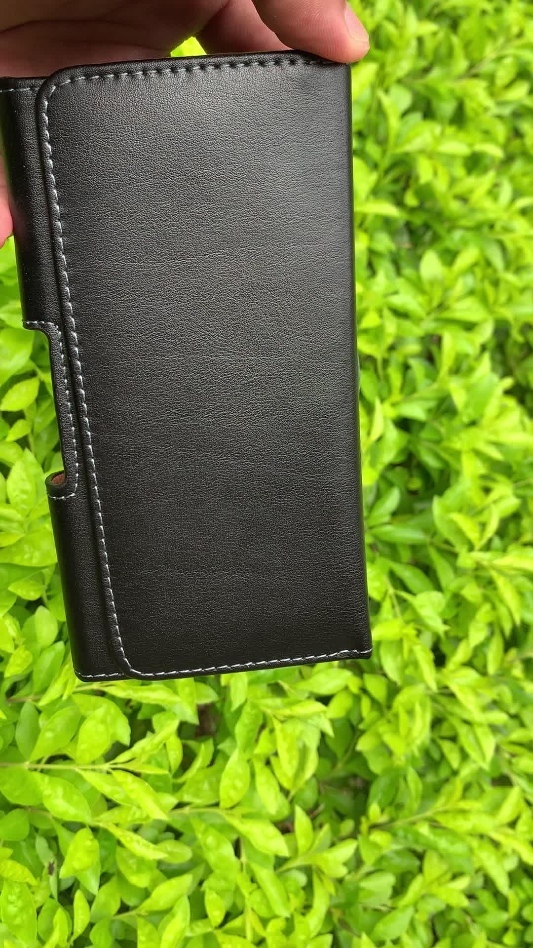 โรงงานขายส่งราคา Universal ของแท้หนังเอวแพ็คเข็มขัดคลิปสำหรับ iPhone XS Samsung S10e S9 Huawei P30