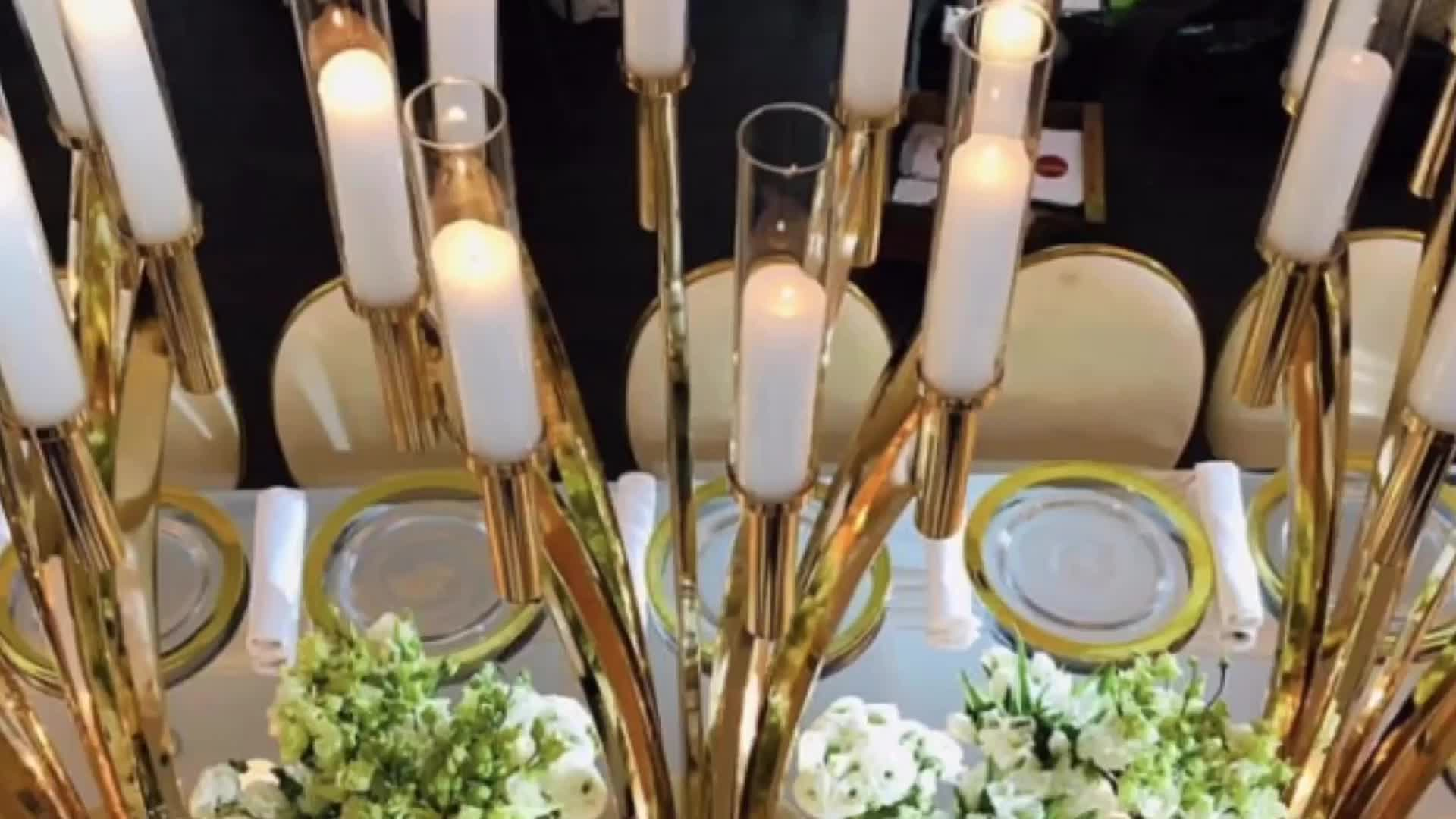 Hot sell 10 arm gold metal candle stand for wedding & event
