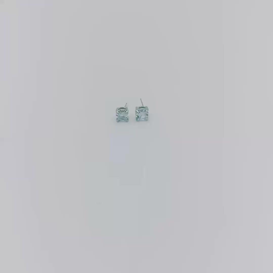 Simple Design Stainless Steel Metal Plain Ear Ring Zircon Square Stud Earring