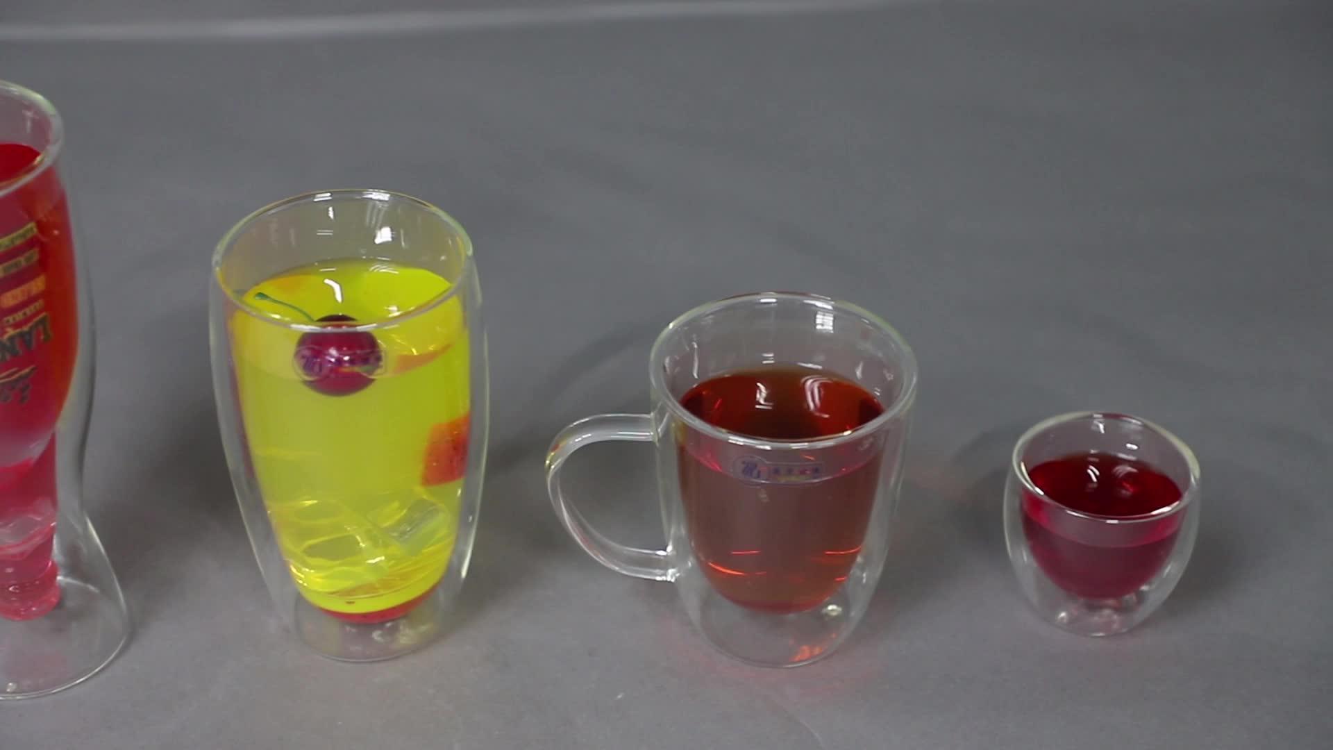 450 ml crystal handgemaakte clear transparante dubbele muur pyrex borosilicaatglas cup glaswerk met rode silicon base