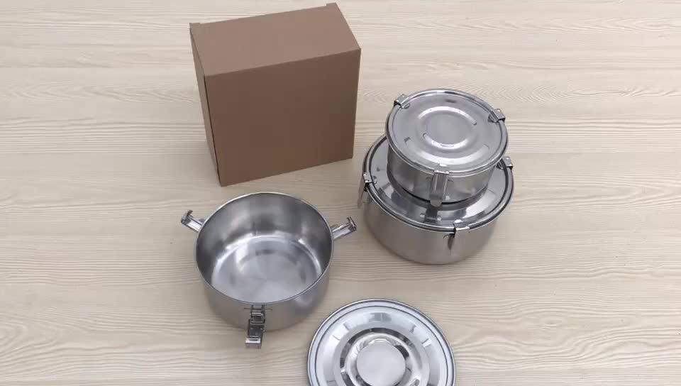 Set van 3 stuks Rvs Bento Lunch Box 12/14/16 cm Lekvrij