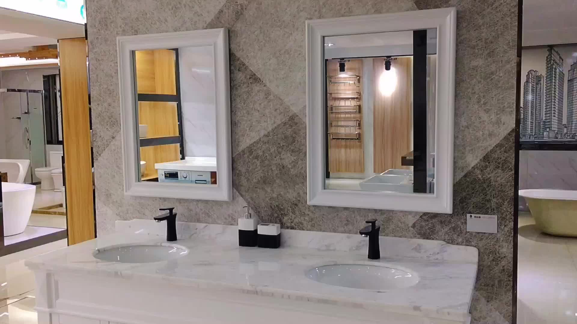 Inch dubbele wastafel badkamer ijdelheid wit marmeren badkamer