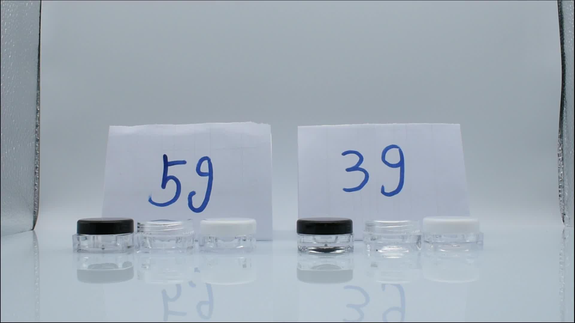 Cosméticos frascos de muestra de plástico de envases de plástico 2,5g 5g 10g 20g 15g de muestra pequeña frasco de 3g claro frasco de crema de ojo
