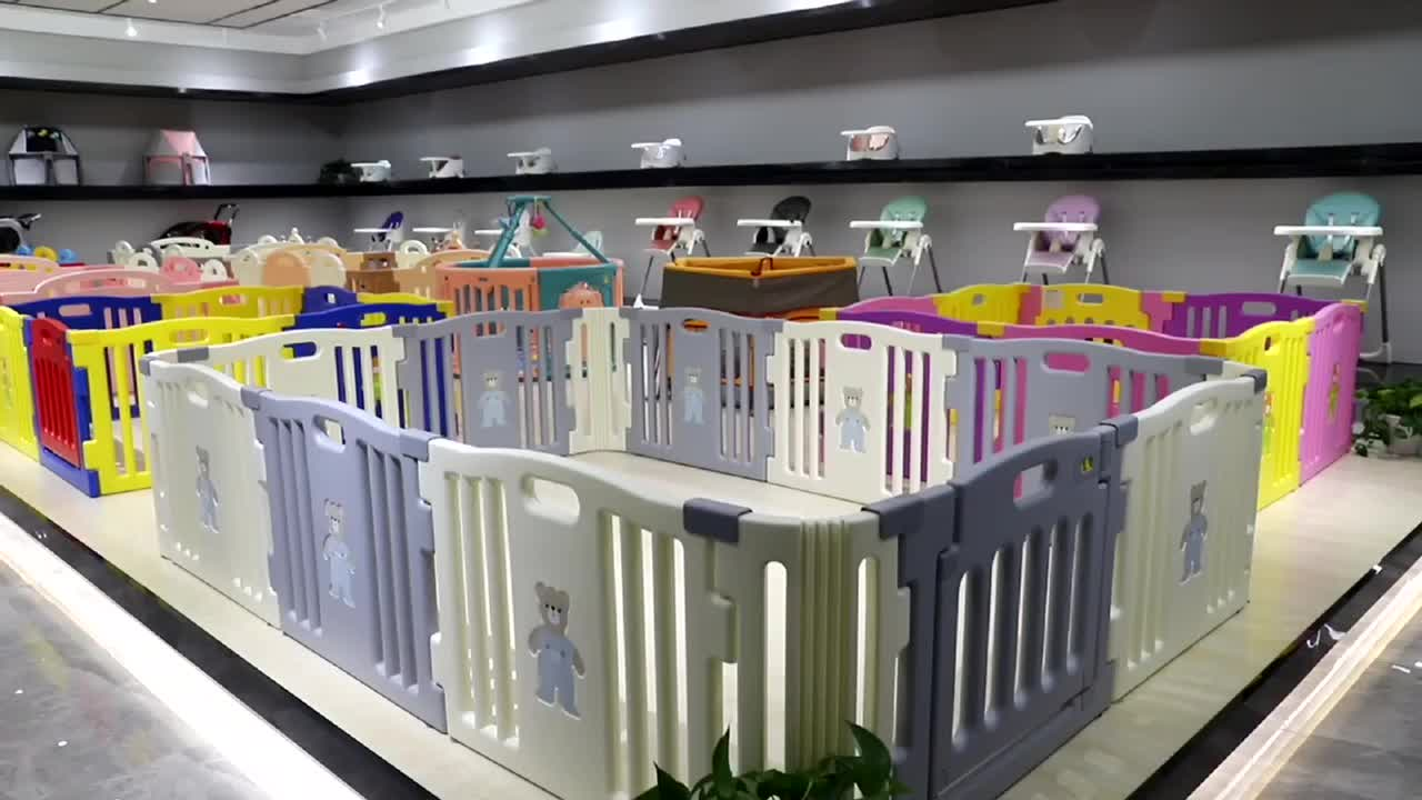 Chinese factory sell 8 sided plastic baby playard with colorful design, baby playpen with gate and toys