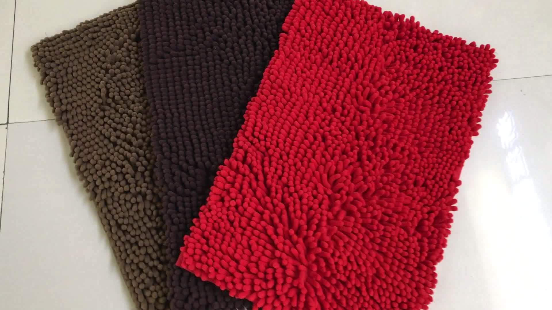 Custom Size Bath Rugs Luxury Microfiber Chenille Bath Rug