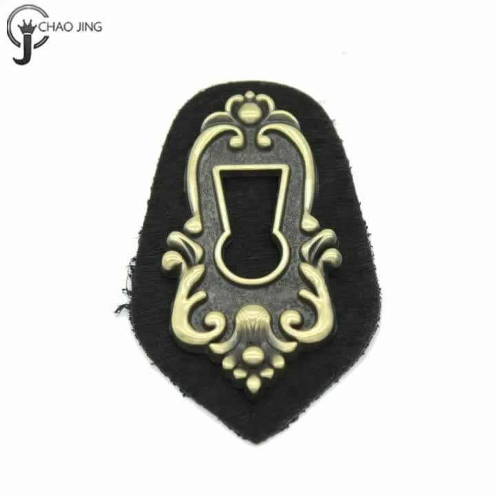 Custom fashion metal leather label design embossed leather patch for jeans