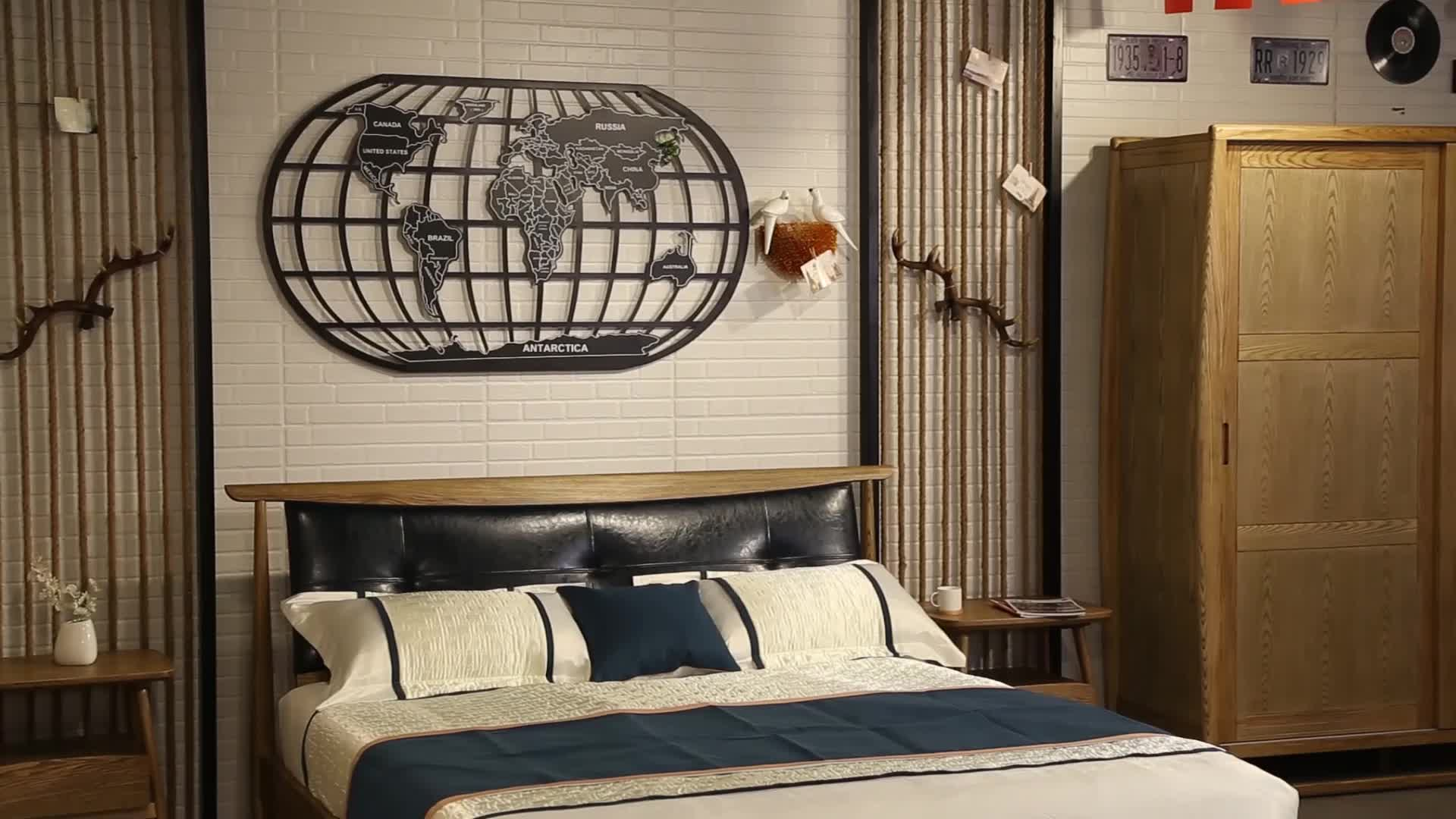 High Quality Simple Design Small family double storage leather Country contracted style real wood bed