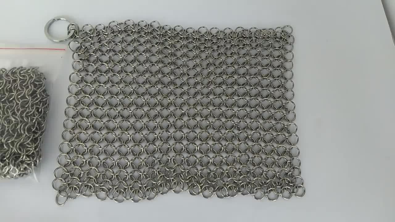 In ghisa pulitore di pulizia in acciaio inox metallo rete metallica scrubber