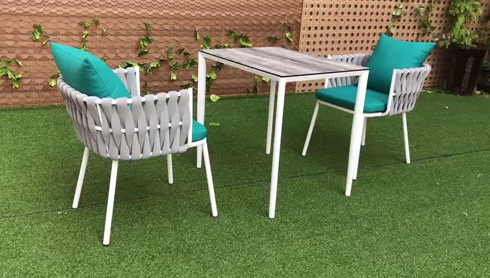 Factory Sales Hotel Goedkope Tuinmeubilair Rotan Weave Aluminium Folding Dining Set Tuin Touw Stoel (Accepteren Op Maat)
