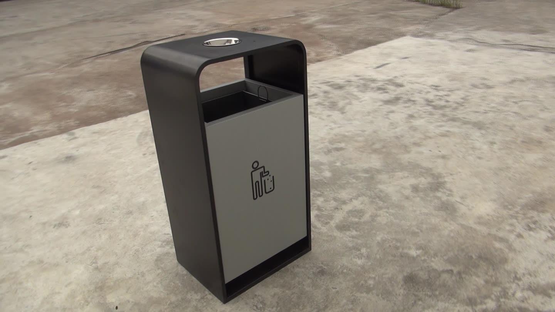 Novo design de metal quadrado cinzeiro ao ar livre lata de lixo recipiente de resíduos de aço galvanizado lata de lixo da rua do jardim decorativo