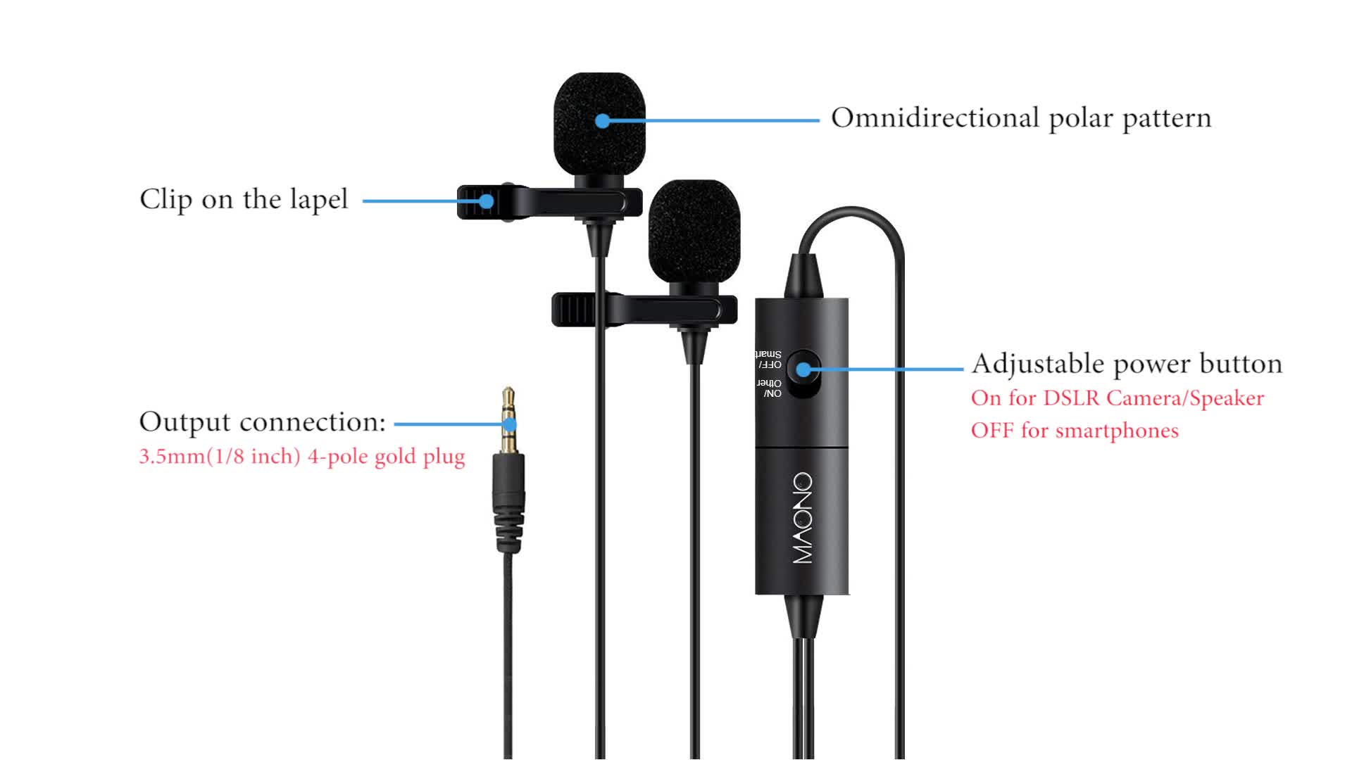 Maono High Sensitive Lavalier Lapel Collar Reporter Microphone