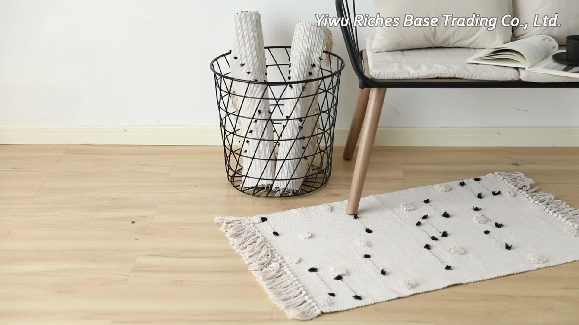 인기 판매 맞춤 라운드 컷 tufted 깔개 바닥 매트 현대 카펫 술 거실