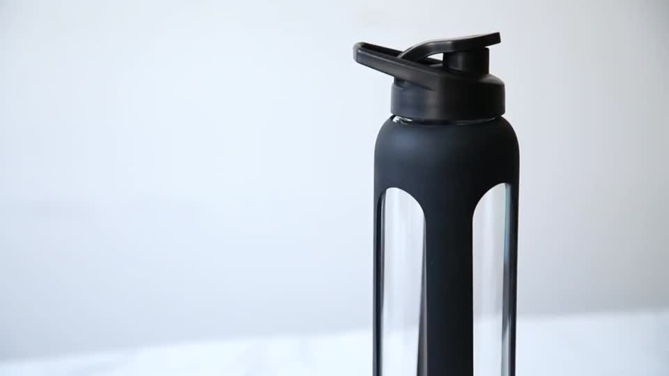 Sport Wide Neck Safe Portable Glass Drink Water Bottle With Silicone Cover