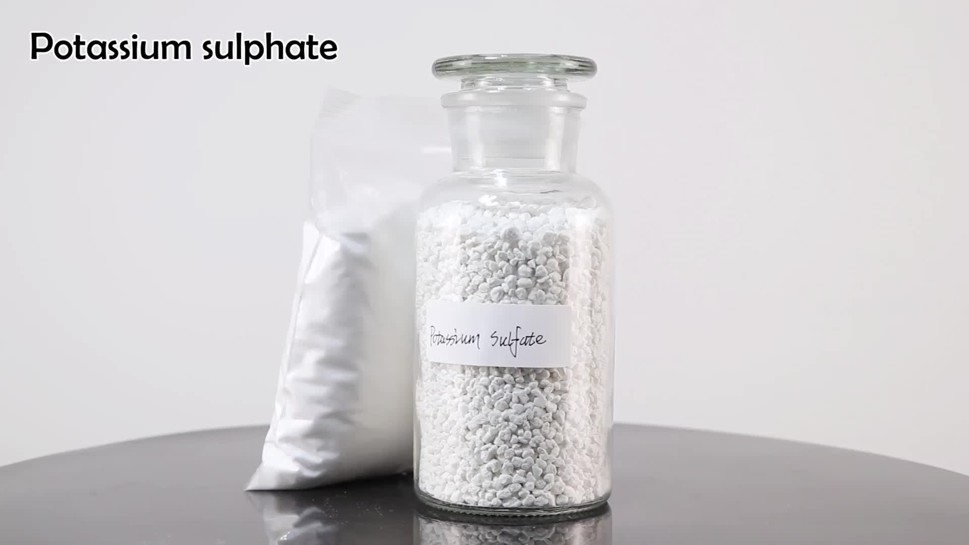 white granules fertilizer potassium sulfate