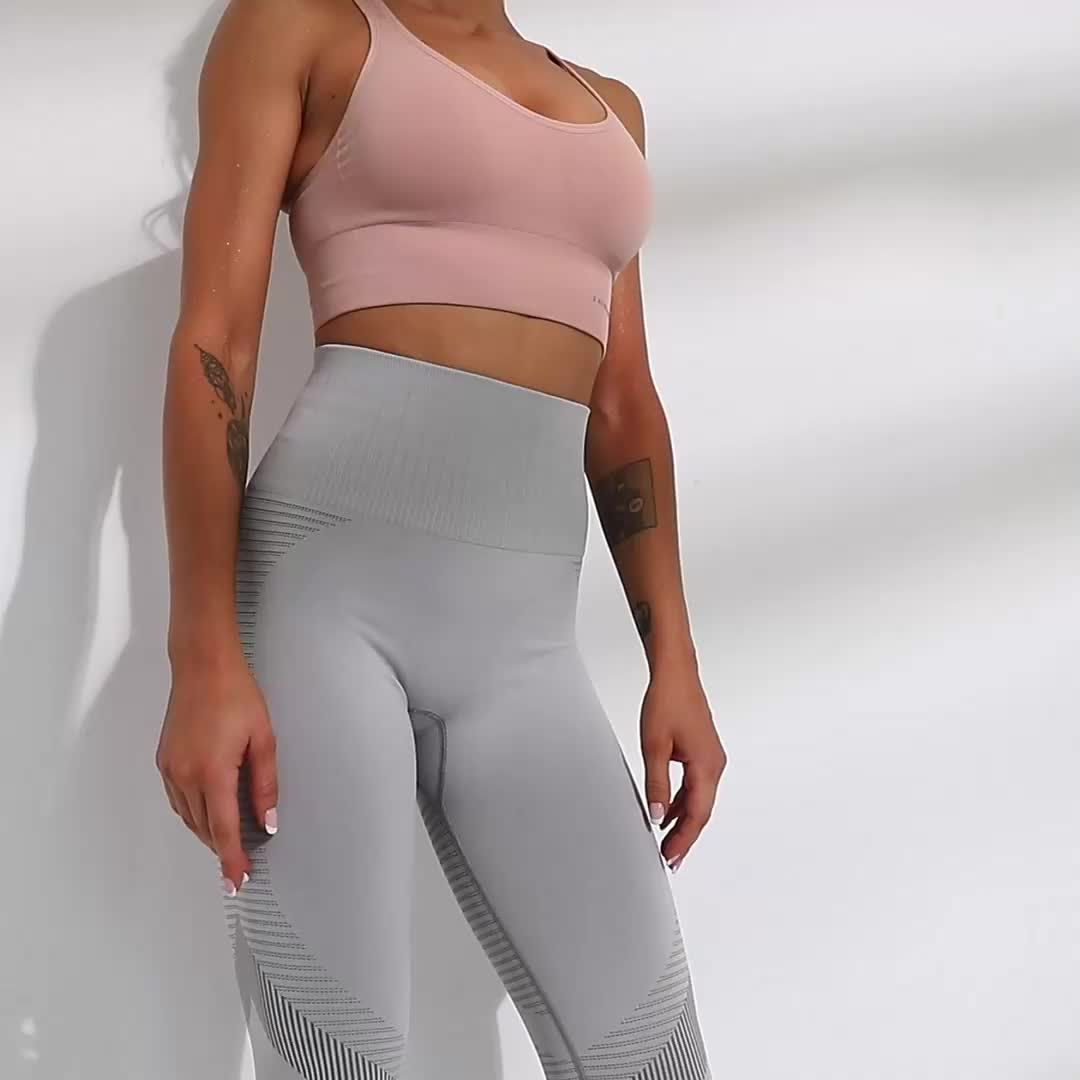 High rise mulheres spandex nylon peso leve tecido elástico macio logotipo personalizado leggings calças de ioga