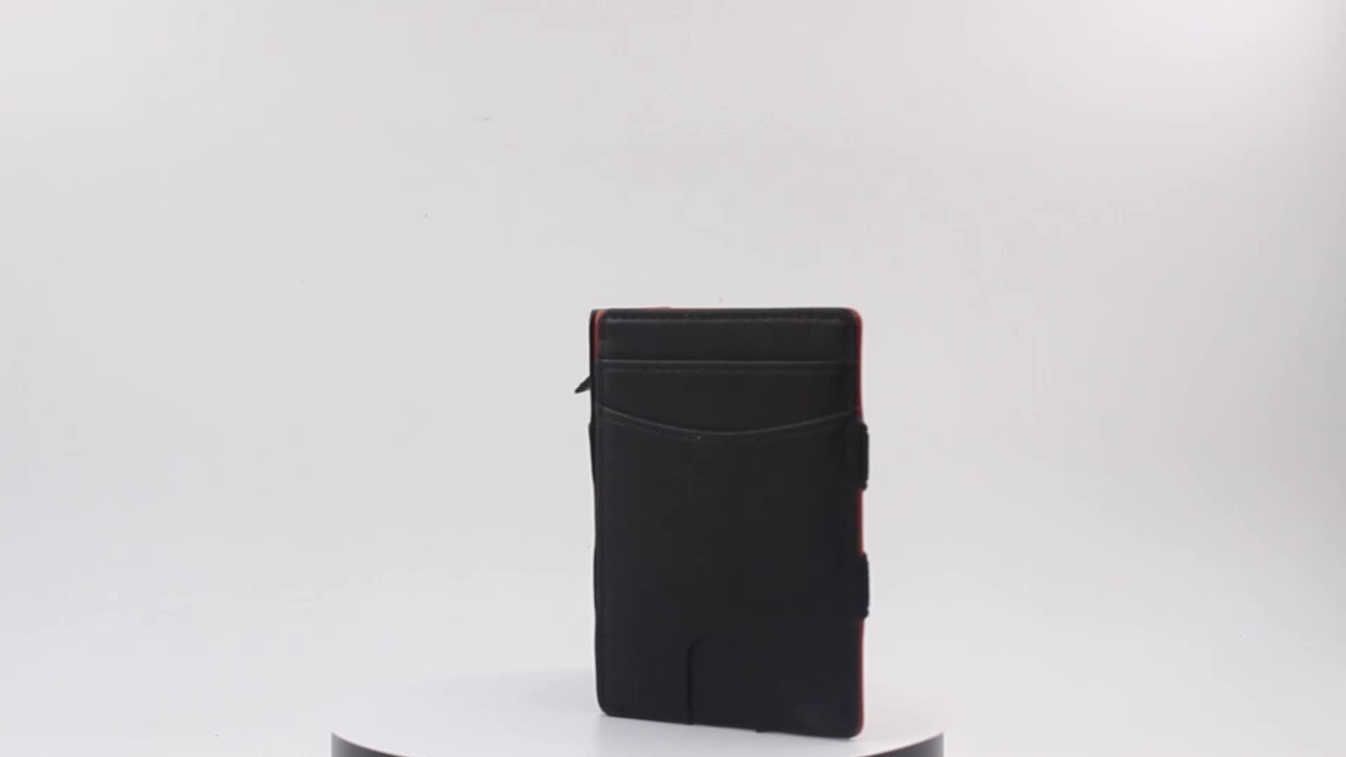 Thin Minimalist Credit Card Holder RFID Blocking Genuine Leather Men's Magic Wallet