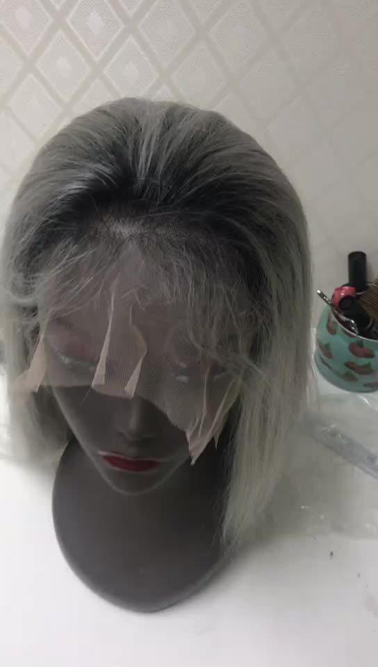 100% menselijk haar pruik lace front 150% dichtheid braziliaanse straight lace front pruiken 1b/grijs gevlochten yaki menselijk haar full lace pruik
