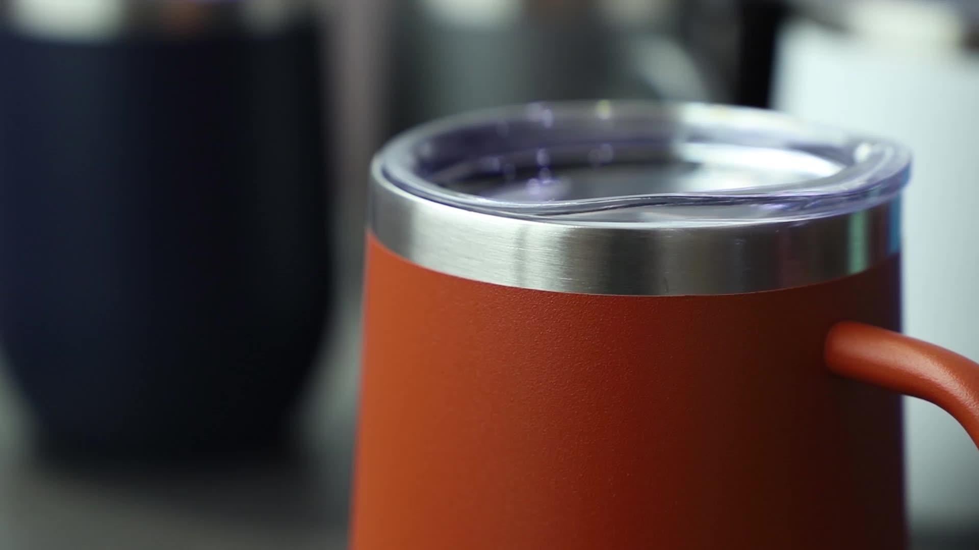 12 Oz Tanpa Tangkai Anggur Kaca Tumbler dengan Tutup Stainless Steel Double Wall Vacuum Insulated Perjalanan Piala