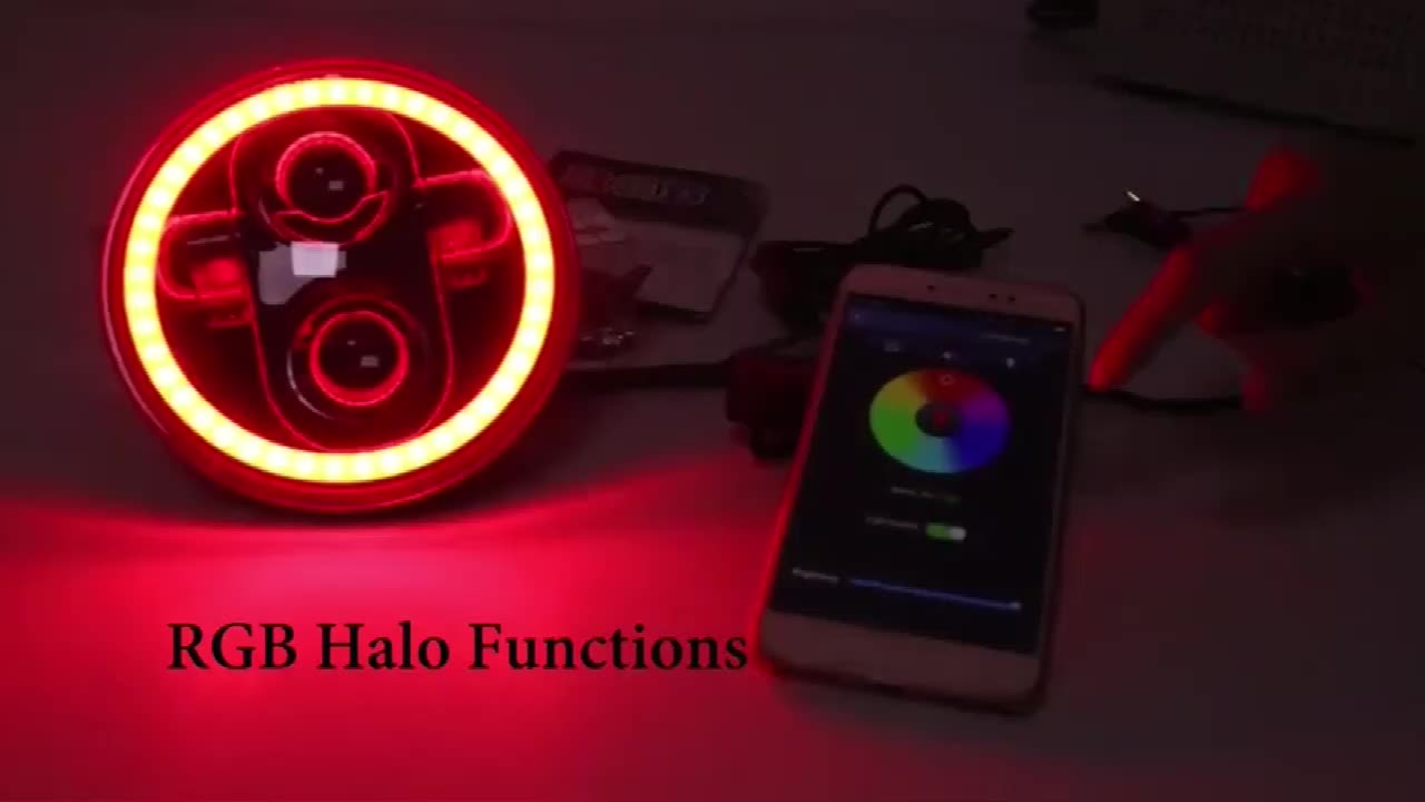 OVOVS 5.75 inch Round Led Headlight with RGB Angel Eyes Bluetooth Remote Controlled Headlamp for Harley Davidson