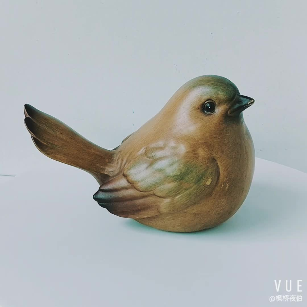 Tabletop ornaments Spring Decoration Wood Look Resin Bird Statue Resin Bird Figurine