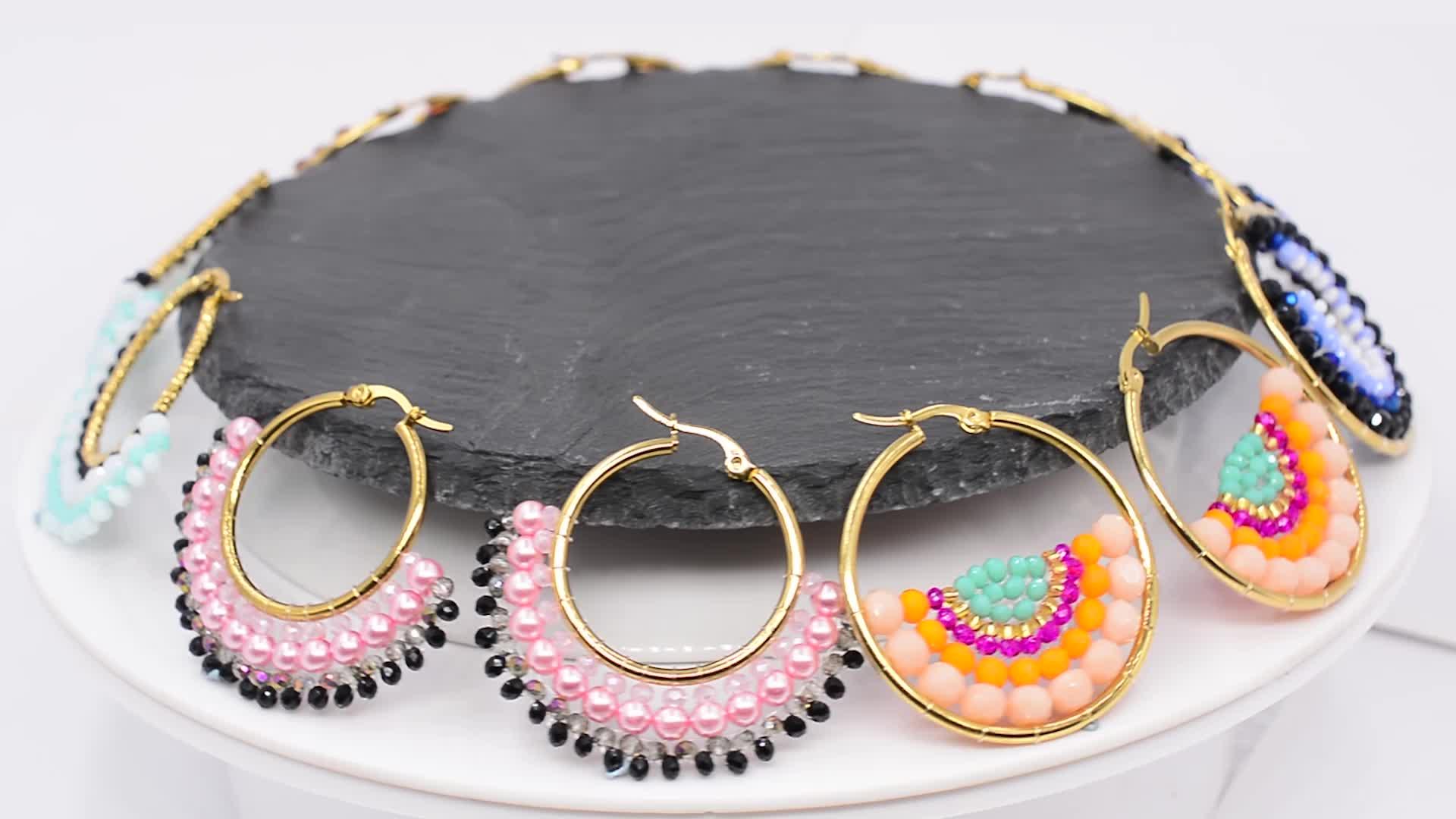 Modalen Custom handmade Stainless Steel Round Hoop Seed Bead Earring Jewelry