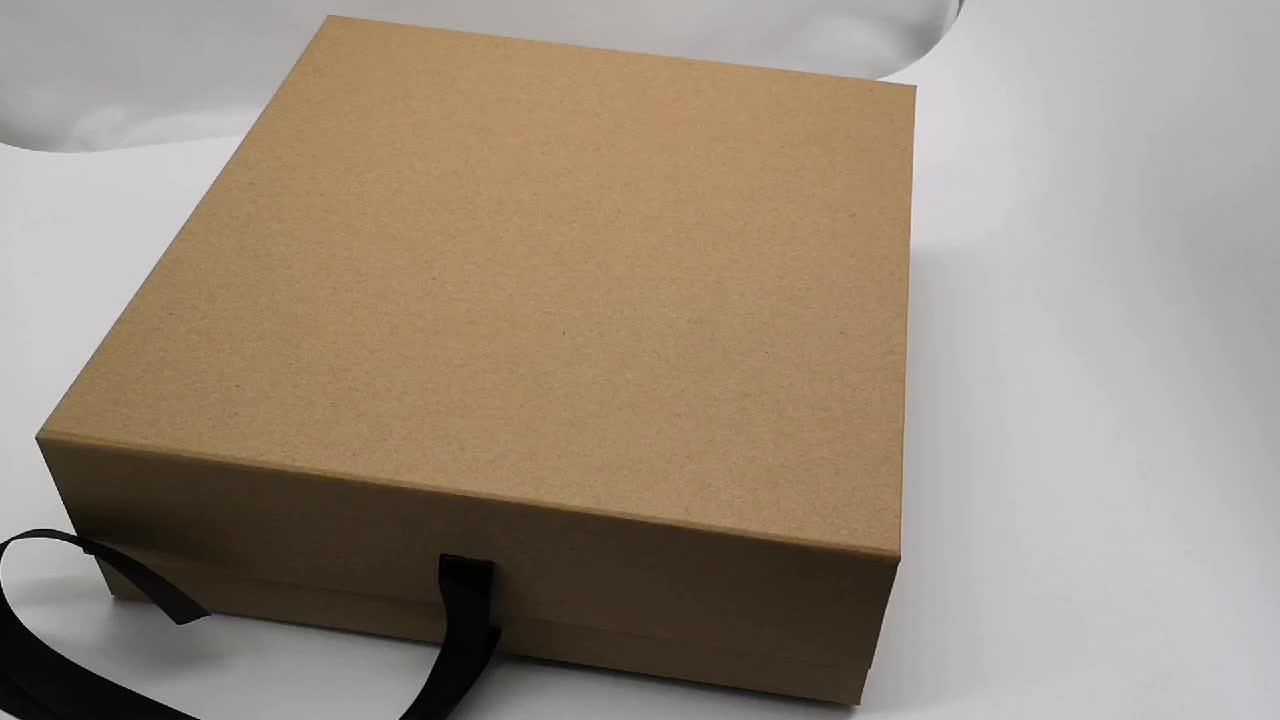 Черный Белый крафт лента магнит закрытие одежды жесткая бумага складной подарочная коробка с крышкой