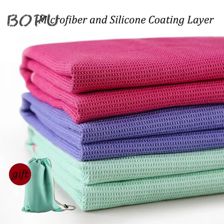 Non Slip Yoga Handtuch Exklusive Ecke Taschen Design Mikrofaser und Silikon Beschichtung Schicht Mit Freies Tragen Tasche