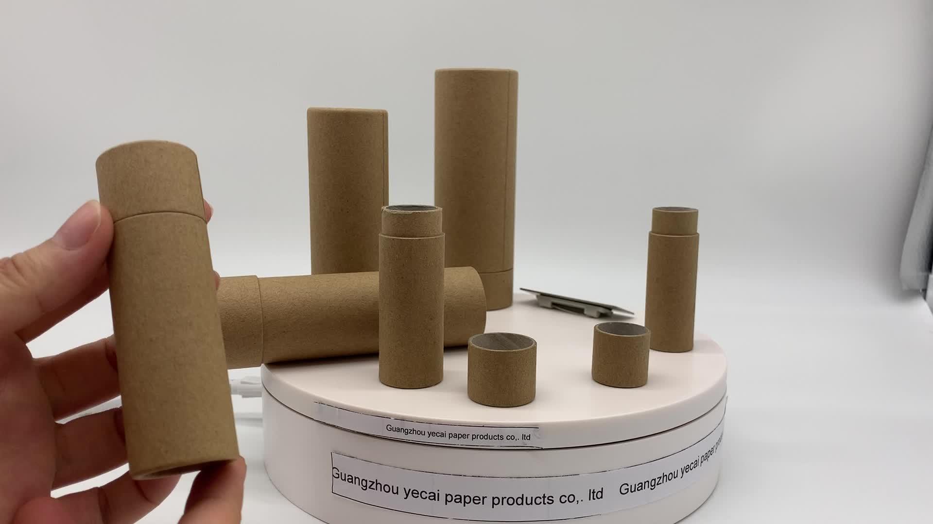 1 oz biodegradabile push up cera rivestimento di cartone kraft materiale di carta balsamo per le labbra tubo hanno azione