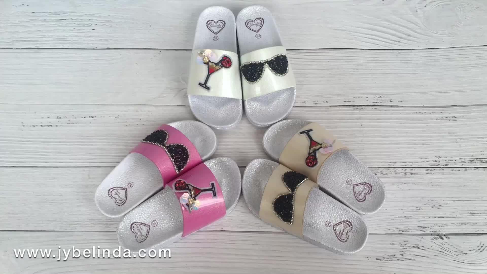 Kids Shoes Wholesale Fancy Beautiful Bling Slide Girls Slippers Children
