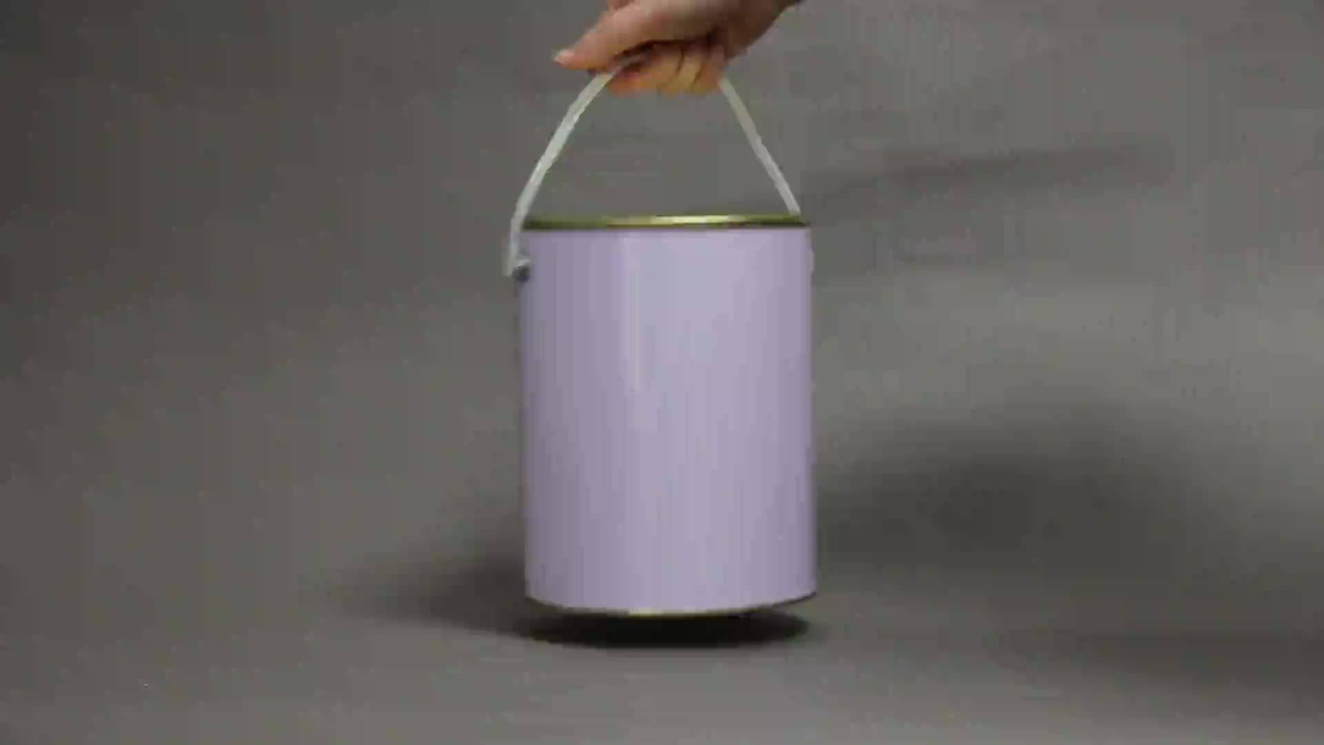 1L circular can printed white, quart paint can with tight triple lid,empty tin cans with plastic handle
