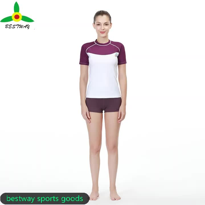 fashionable customized women's long sleeve surfing and diving rash guard