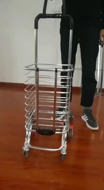 Liga de alumínio 3 rodas para subir escadas carrinhos dobráveis carrinho de compras dobrável