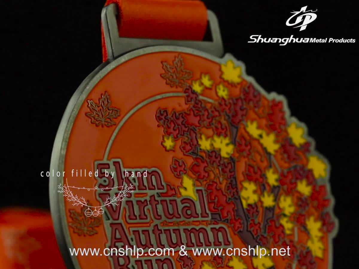 Hot sale custom matte gold zinc alloy metal running rotate medals with ribbon