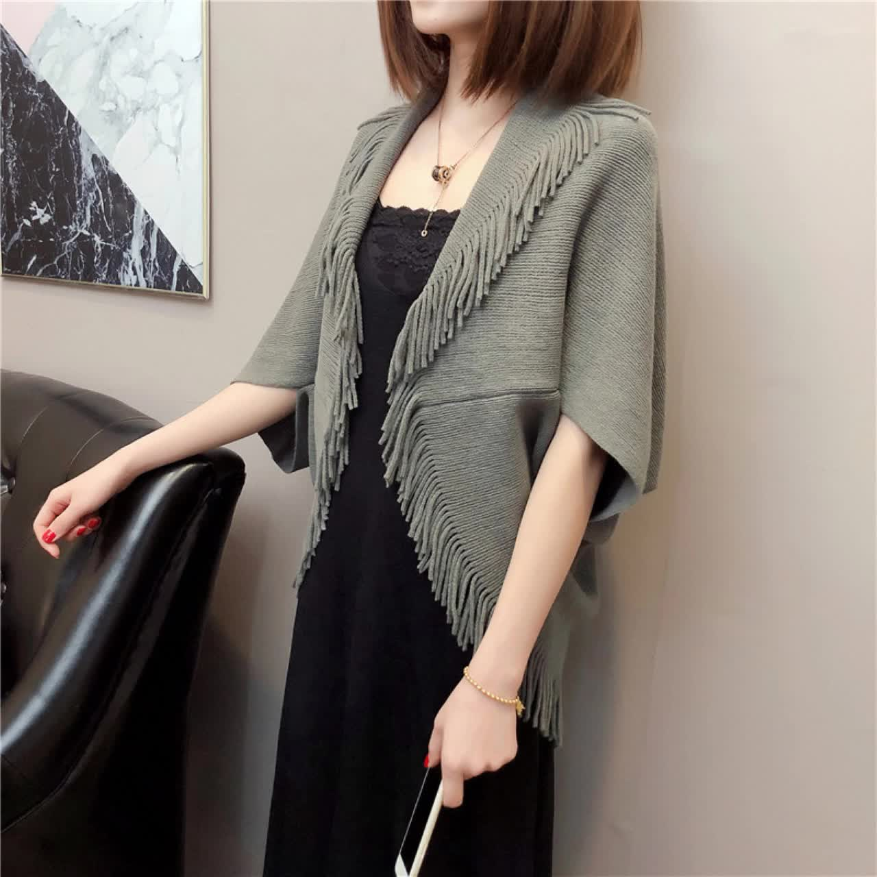 wholesale sexy women half sleeve open front short shawl