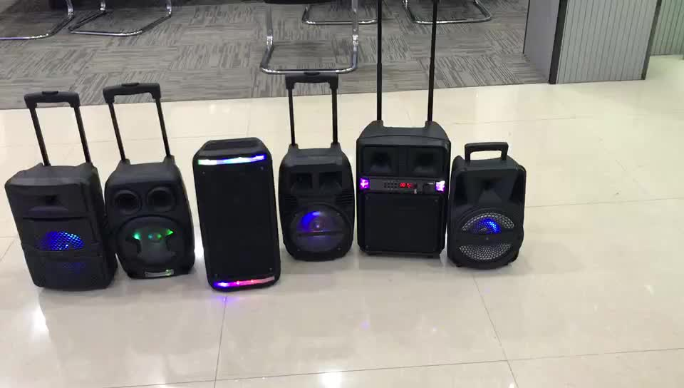 Mini portable disco movable sound box big battery active trolley bluetooth speakers with Mic