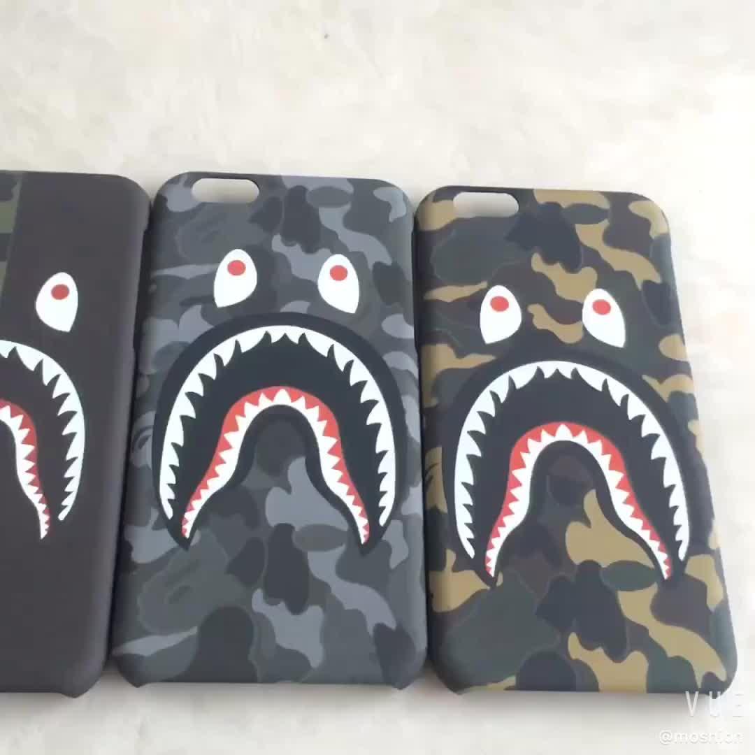 Hot verkoop Cool Fashion Hard PC telefoon gevallen Bape Haai Telefoon Case voor iPhone 6s 7 8plus X /Xr/Xs max Fluorescerende Cover