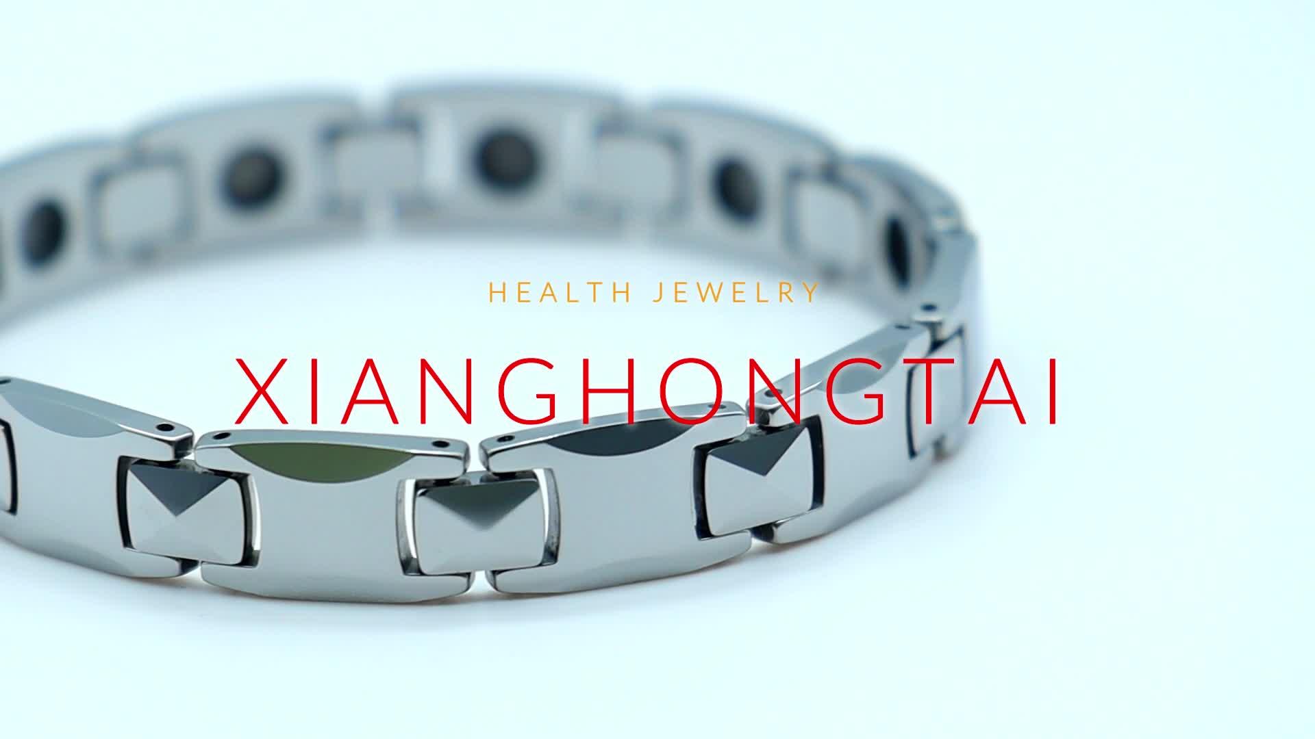Power Energy Silver Gold Plated Hematite Ceramic Bio Energy Tungsten Bracelet