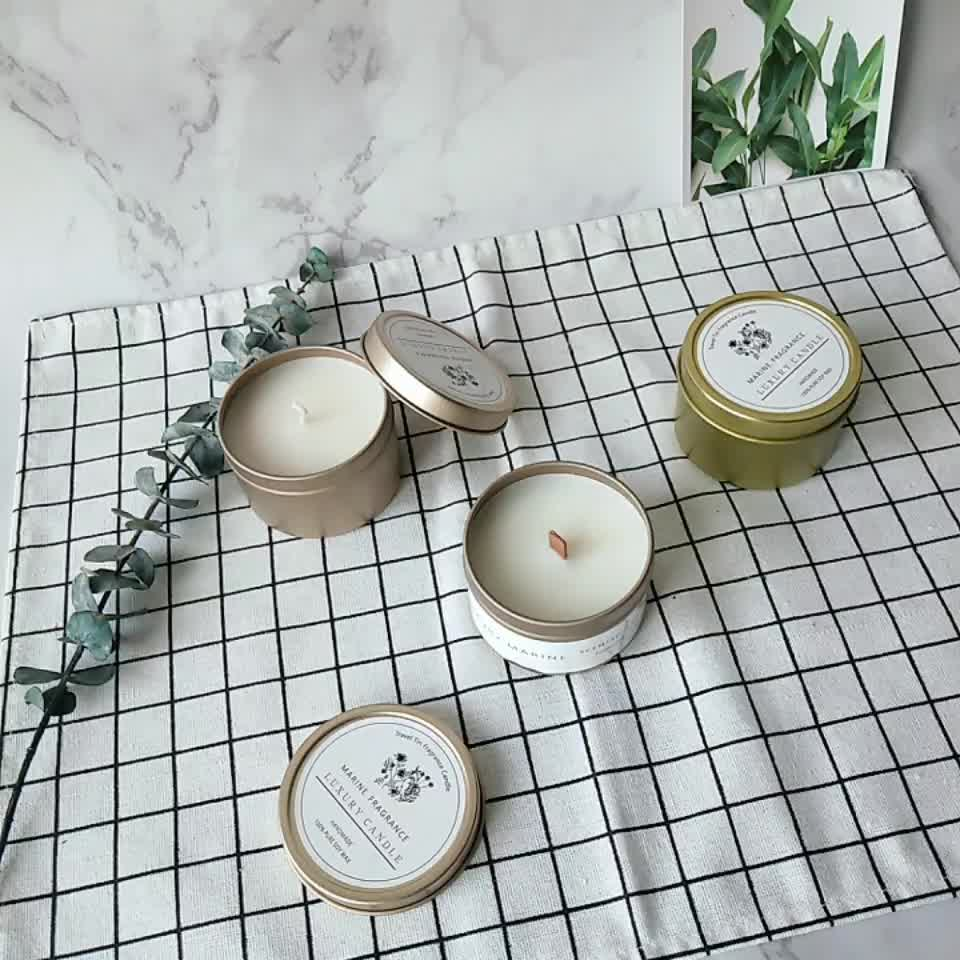 organic soy wax scented rose gold candle tins