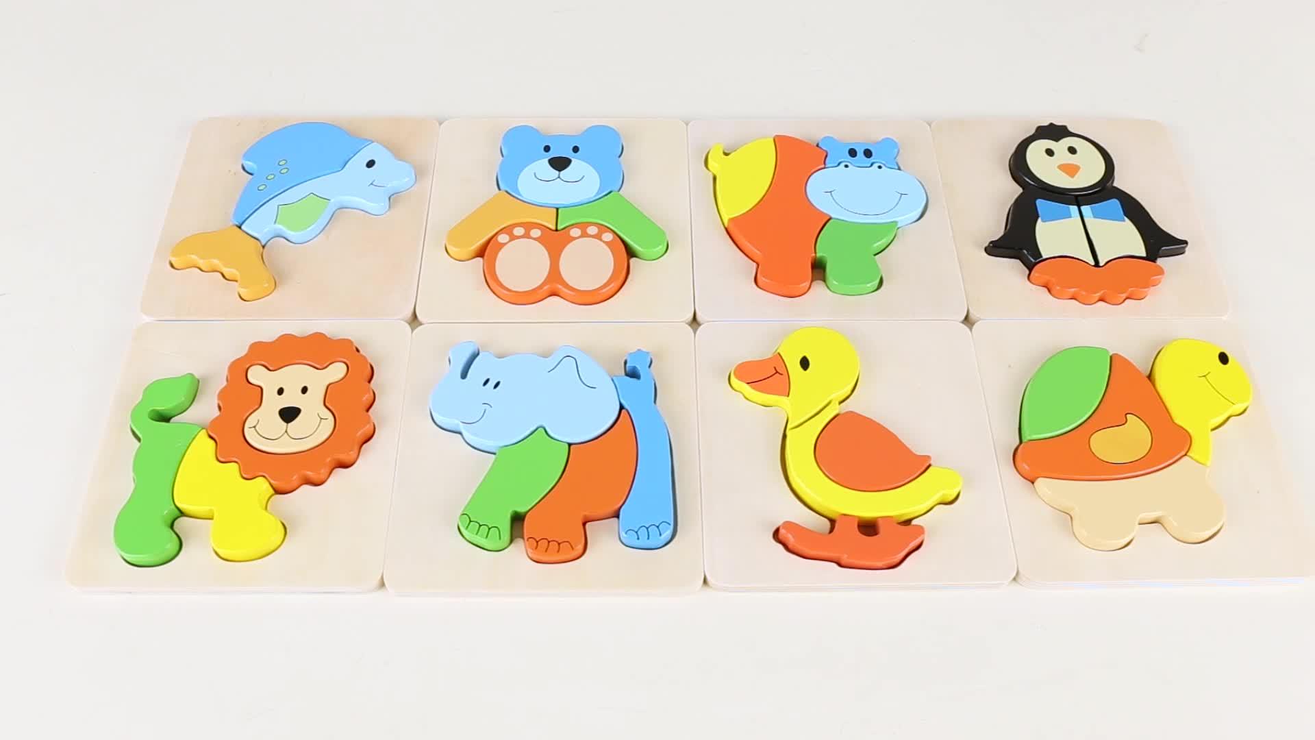 PHOOHI Tier Sperrholz Baby Pädagogisches Spielzeug Kinder Holz Tier Puzzle Für Kinder