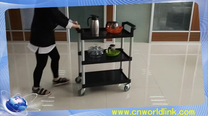 High Quality 3 Layers Hotel Plastic Service Food Cart