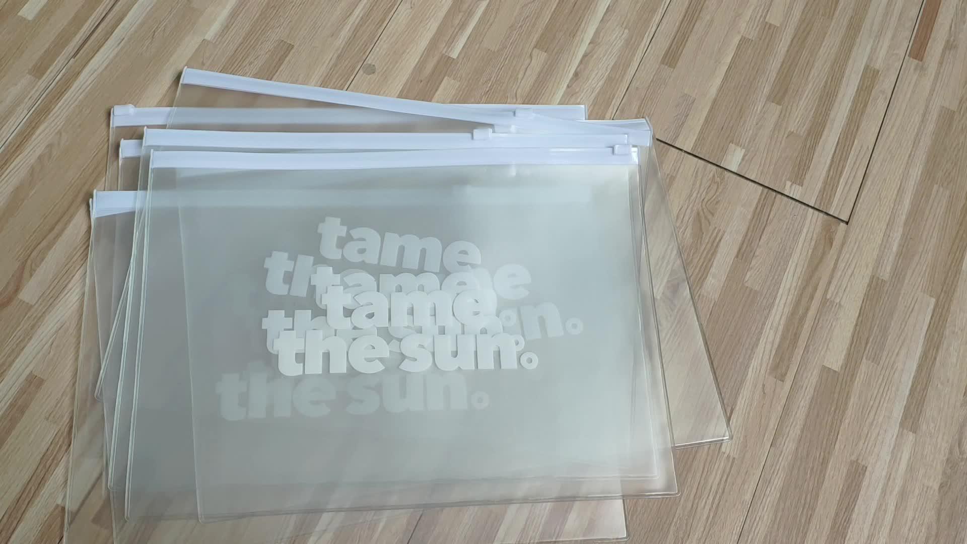 Bolsa de Bikini impermeable transparente/mate de plástico Pvc para trajes de baño, cremallera negra con anillo circular