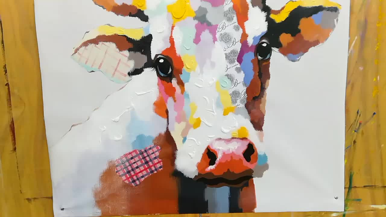 Good Quality Modern Canvas Art Abstract Animal Cow Oil Painting For