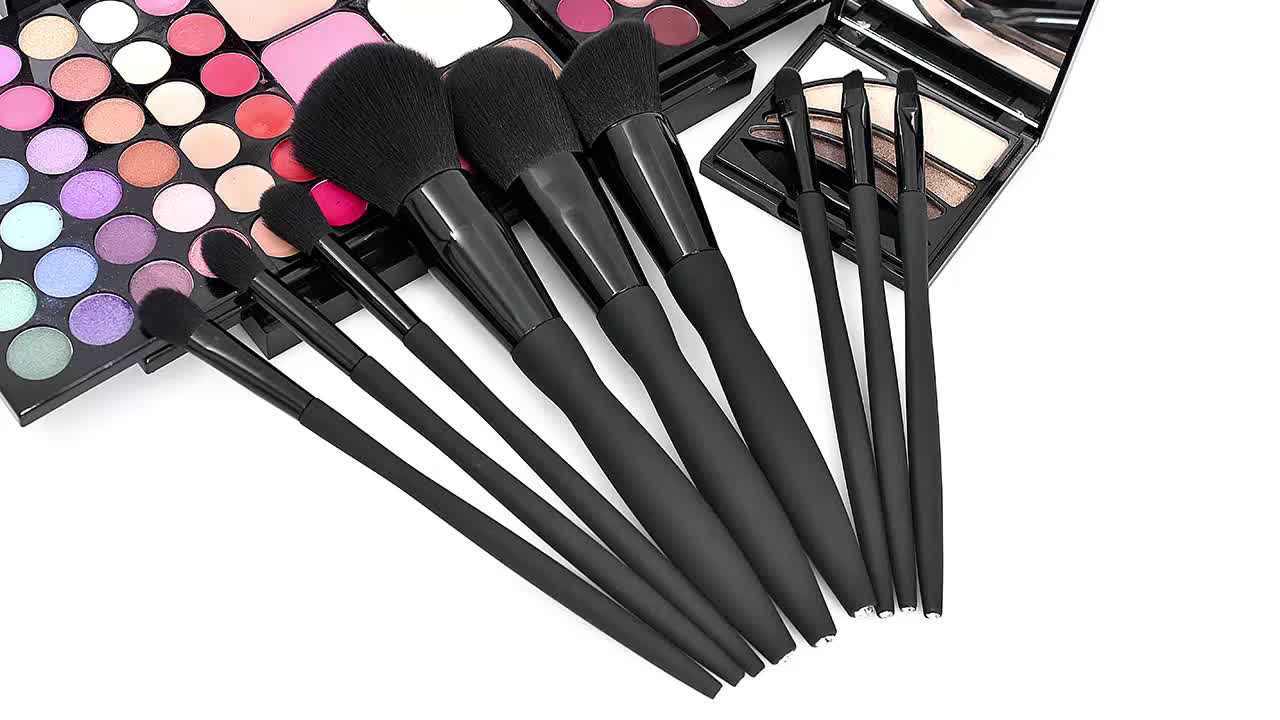 BUEART Eyes and face powder concealer fan beauty crystal diamond brush sets black color brush design glitter makeup brush