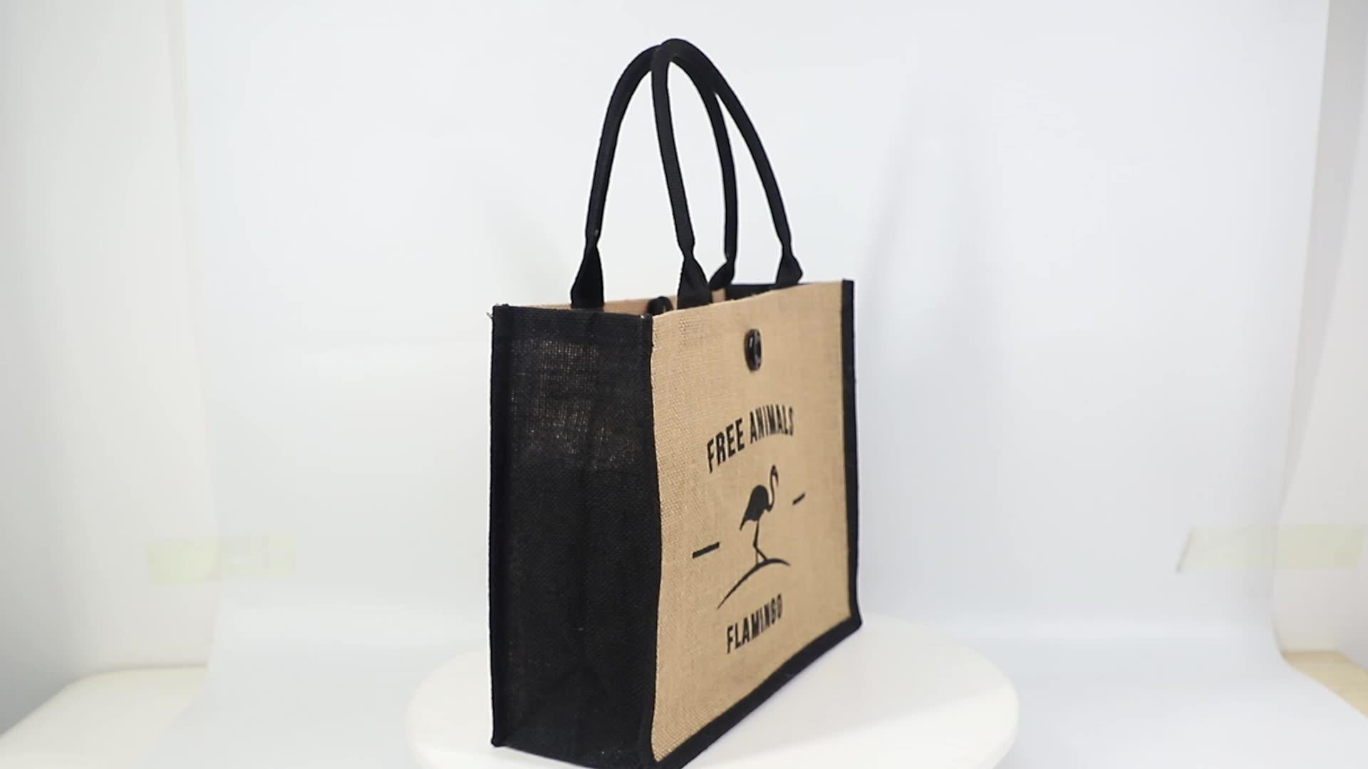 wholesale Eco friendly jute burlap reusable beach bag shopping jute bags with custom logo