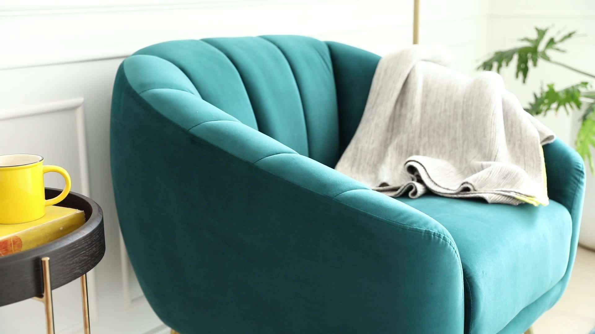Hotel Moderne Houten Frame Lounge Sofa Single Seater Fluwelen Fauteuil